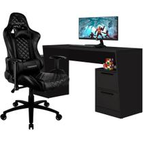 Mesa Para PC Gamer Fantasy BMG-02 com Cadeira Gamer TGC12 ThunderX3 Preto - Lyam Decor
