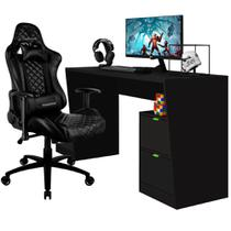 Mesa Para PC Gamer Strike BMG-01 com Cadeira Gamer TGC12 ThunderX3 Preto - Lyam Decor