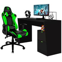 Mesa Para PC Gamer Strike BMG-01 com Cadeira Gamer TGC12 ThunderX3 Preto Verde - Lyam Decor