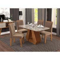 Mesa para Sala de Jantar Agata 130 x 80 cm e 4 Cadeiras Nicole Cimol Savana/Off White/Pluma -
