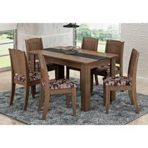 Mesa Para Sala de Jantar com 6 Cadeiras Bárbara Marrocos/Floral Bordô - Cimol Móveis -