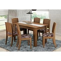 Mesa Para Sala de Jantar com 6 Cadeiras Bárbara Savana/Floral Bordô - Cimol Móveis -