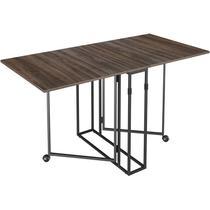 Mesa Para Sala de Jantar Dobrável Luna Ameixa Negra/Preto Móveis Brastubo -
