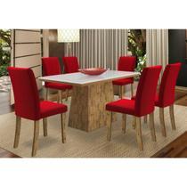 Mesa Para Sala De Jantar Melissa Com 6 Cadeiras Vanessa Vermelho - New Ceval -