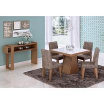Mesa Para Sala de Jantar Olívia 4 Cadeiras Milena e Aparador Iris Savana/Stone - Cimol Móveis -
