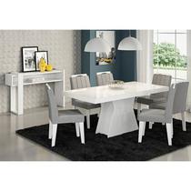 Mesa Para Sala de Jantar Olívia 6 Cadeiras Elisa e Aparador Iris Branco/Platina - Cimol Móveis -