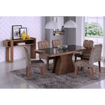 Mesa Para Sala de Jantar Olívia 6 Cadeiras Elisa e Aparador Iris Marrocos/Stone - Cimol Móveis -