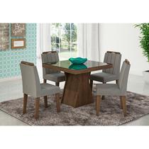 Mesa Para Sala de Jantar Olívia com 4 Cadeiras Elisa Marrocos/Preto/Platina - Cimol Móveis -