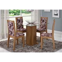 Mesa Para Sala de Jantar Sophia com 4 Cadeiras Lívia Savana/Floral Bordô - Cimol Móveis -