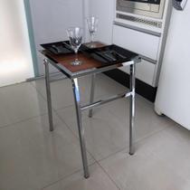 Mesa Pequena Quadrada Cromada Para Cozinhas De Apartamento - MetalCromo