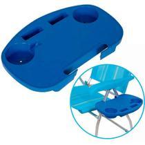 Mesa Portátil Porta Copo em Polipropileno para Cadeiras de Praia Azul MOR -
