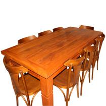 Mesa Rústica com 08 Cadeiras Churrasco e Jantar Madeira Maciça Peroba Rosa 2,00M Madeira Pura -