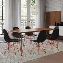 Mesa Sala de Jantar Industrial Clips Amêndoa 135x75 6 Cadeiras Eiffel Pretas de Ferro Cobre - Up Home