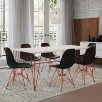 Mesa Sala de Jantar Industrial Clips Branca 135x75 6 Cadeiras Eiffel Pretas de Ferro Cobre - Up Home