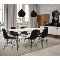 Mesa Sala de Jantar Industrial Clips Branca 135x75 com 6 Cadeiras Eiffel Brancas de Ferro Preto - Up Home