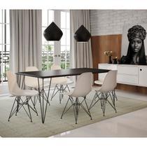 Mesa Sala de Jantar Industrial Clips Preta 135x75 com 6 Cadeiras Eiffel Brancas de Ferro Preto - Up Home