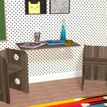 Mesa Suspensa de Parede Dobrável com Suporte Krok Kit Cubos Baby Bramov Móveis Marrom -