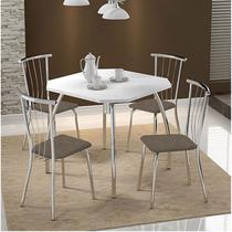 Mesas 1504 Branca Cromada com 4 Cadeiras 154 Camurça Conhaque Carraro -