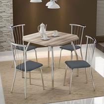 Mesas 1504 Nogueira Cromada com 4 Cadeiras 154 Jeans Carraro -