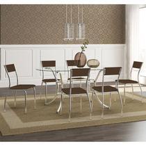 Mesas 1524 Vidro Incolor Cromada com 6 Cadeiras 1701 Cacau Carraro -