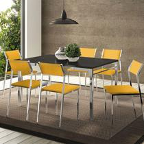 Mesas 1526 Preta Cromada com 6 Cadeiras 1709 Amarela Carraro -
