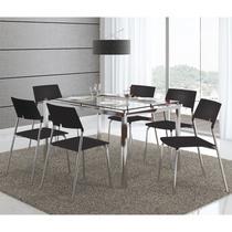 Mesas 346 Vidro Incolor Cromadacom 6 Cadeiras 1711 Preta Carraro -