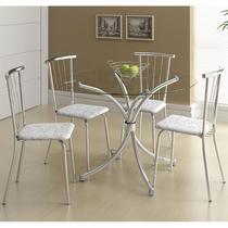 Mesas 375 Vidro Incolor Cromada com 4 Cadeiras 154 Fantasia Branco Carraro -