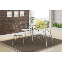 Mesas 393 Vidro Incolor Cromada com 4 Cadeiras 1700 Branca Carraro -