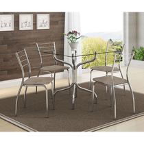 Mesas 393 Vidro Incolor Cromada com 4 Cadeiras 1700 Camurça Conhaque Carraro -
