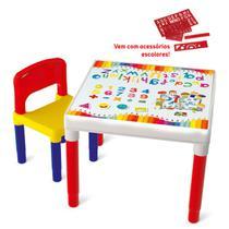 Mesinha Mesa Educativa C/ Réguas E Cadeira Infantil Bell Toy -