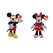 Mickey mouse e minnie mouse rosa de pelucia - kit com 2 bonecos disney dtc -