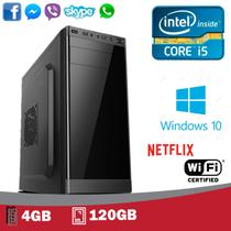 MIcrocomputador Intel I5, 4gb de memória, SSD 120Gb, Gravador DVD, Windows 10 Pro 2019 + WIFI (GARANTIA 2 ANOS) - 5Techpc