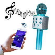 Microfone Bluetooth Sem Fio Karaokê Youtuber Estilo Reporter - AZUL - LIBA