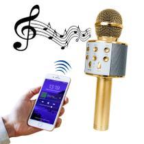 Microfone Bluetooth Sem Fio Karaokê Youtuber Estilo Reporter - DOURADO - LIBA