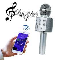 Microfone Bluetooth Sem Fio Karaokê Youtuber Estilo Reporter - PRATA - LIBA