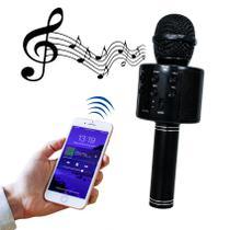 Microfone Bluetooth Sem Fio Karaokê Youtuber Estilo Reporter - PRETO - LIBA
