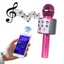 Microfone Bluetooth Sem Fio Karaokê Youtuber Estilo Reporter - ROSA - LIBA