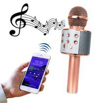 Microfone Bluetooth Sem Fio Karaokê Youtuber Estilo Reporter - ROSE GOLD - LIBA