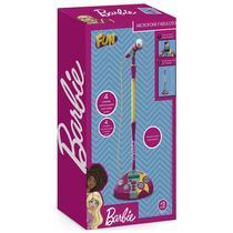 Microfone com Base  Barbie  Karaokê Microfone Fabuloso - Fun