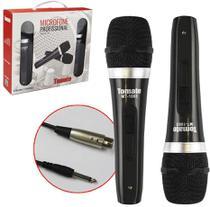 Microfone Com Fio Duplo Profissional Metal Modelo Mt-1003 - Tomate
