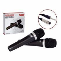 Microfone Com Fio Duplo Profissional Modelo Mt-1003 - Tomate -