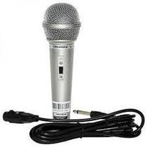 Microfone Com Fio Prata dinâmico Karaokê Profissional Dm501/ 701 - Misaki