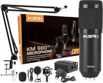 Microfone Condensador para Estúdio KSR KM980 com Phantom + Kit Usb c/ 6 itens -