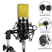 Microfone condensador profissional - liba -  (preto/dourado) -
