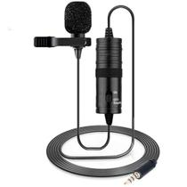 Microfone de lapela omnidirecional preto cabo 6 metros adaptador - Inova