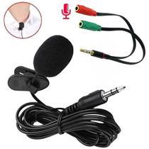 Microfone de lapela P2 + cabo adaptador p3 para celular tablet note smartphone gravação aulas vlog - CJR
