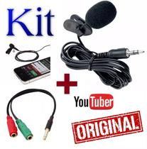Microfone de Lapela Para Celular Smartphone Iphone Android Gravação Vídeos Youtuber + Adaptador Original - Leffa Shop