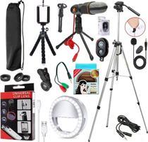 Microfone De Lapela Profissional + Adaptador Para Celular Smartphone Universal Acessórios Gravação de Vídeo Youtubers - Riosul Store
