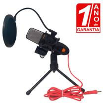 Microfone de Mesa Condesador para Celular e PC Omnidirecional Preto com Pop Filter - Redshock