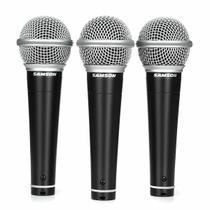 Microfone Dinâmico com Fio para uso Profissional Samson R21 (Kit com 3) -